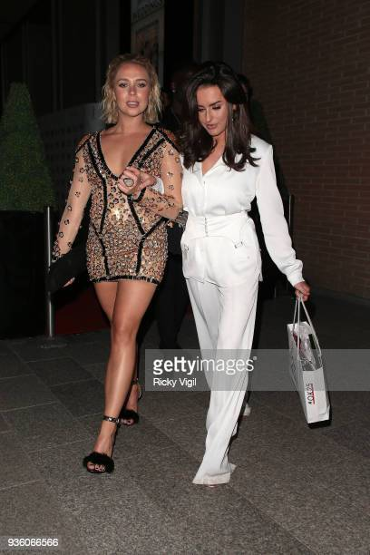 Gabrielle Allen and Amber Davies seen attending OK Magazine's 25th anniversary party at The View from the Shard on March 21 2018 in London England