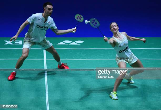Gabrielle and Chris Adock of England compete against Seung Jae Seo and Kim Ha Na of South Korea on day two of the Yonex All England Open Badminton...