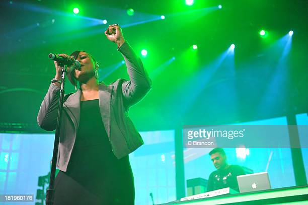 Gabrielle and Naughty Boy perform on stage on Day 26 of the iTunes Festival 2013 at The Roundhouse on September 26 2013 in London England
