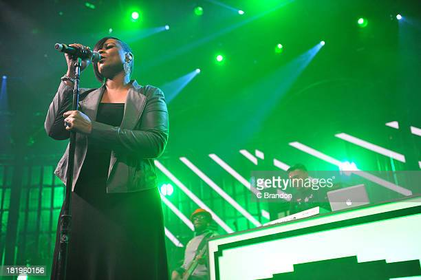 Gabrielle and Naughty Boy performs on stage on Day 26 of the iTunes Festival 2013 at The Roundhouse on September 26 2013 in London England