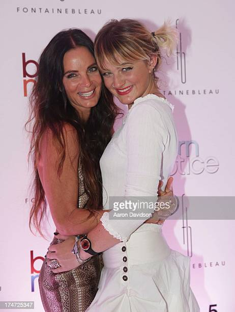 """Gabrielle Anwar and Willow Anwar arrive at wrap party for """"Burn Notice"""" at Fontainebleau Miami Beach on July 27, 2013 in Miami Beach, Florida."""