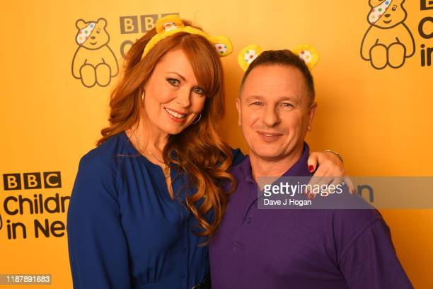 Gabrielle Blackman and Mark Millar of DIY SOS backstage at BBC Children in Need's 2019 Appeal night at Elstree Studios on November 15 2019 in...