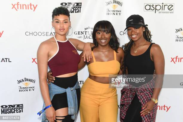 Gabrielle Carreiro, Ashly Williams, and Shyann Roberts of June's Diary at 2017 ONE Music Fest at Lakewood Amphitheatre on September 9, 2017 in...