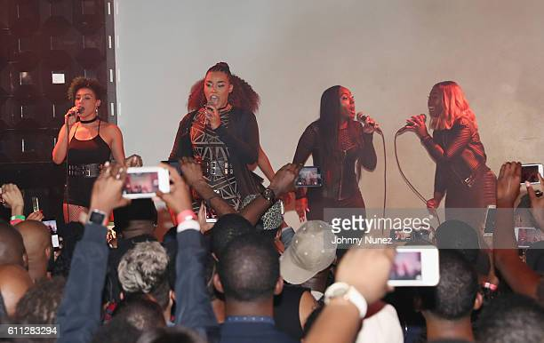 Gabrielle Carreiro, Brienna DeVlugt, Ashly Williams, Shyann Roberts and Kristal Lyndriette Of June's Diary perform at S.O.B.'s on September 28, 2016...