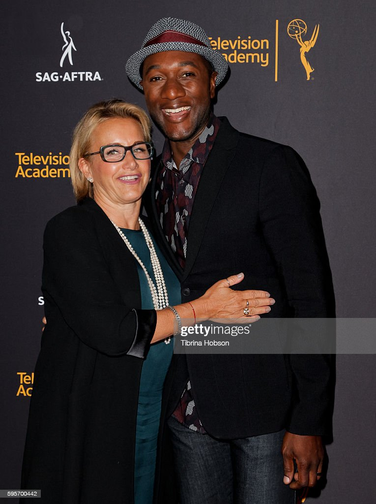 Gabrielle Carteris and Aloe Blacc attend the Television Academy and SAG-AFTRA's 4th annual Dynamic and Diverse Celebration at Saban Media Center on August 24, 2016 in North Hollywood, California.