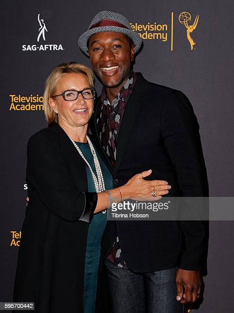 Gabrielle Carteris and Aloe Blacc attend the Television Academy and SAGAFTRA's 4th annual Dynamic and Diverse Celebration at Saban Media Center on...