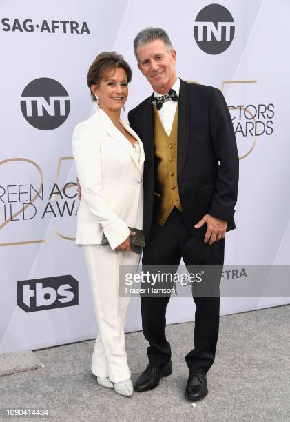Gabrielle Carteris and Charles Isaacs attend the 25th Annual Screen Actors Guild Awards at The Shrine Auditorium on January 27 2019 in Los Angeles...