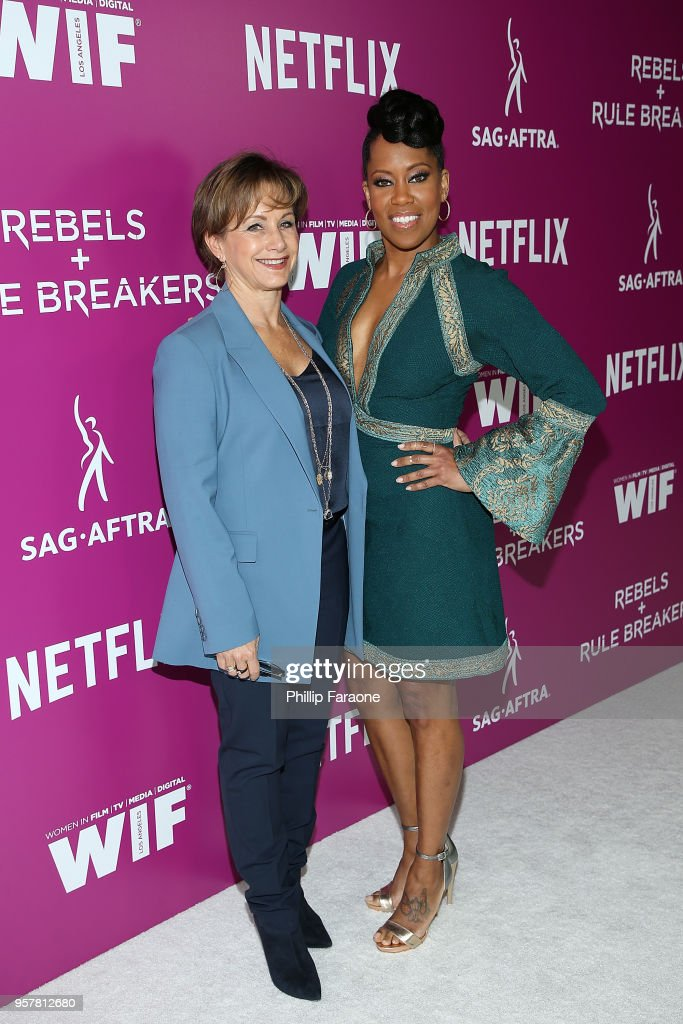 Gabrielle Carteris and Regina King attend the Netflix - Rebels and Rule Breakers For Your Consideration Event at Netflix FYSee Space on May 12, 2018 in Beverly Hills, California.
