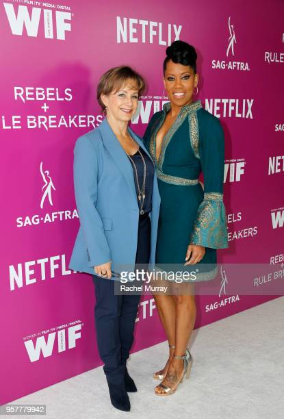Gabrielle Carteris and Regina King attend the Rebels and Rule Breakers Panel at Netflix FYSEE at Raleigh Studios on May 12 2018 in Los Angeles...