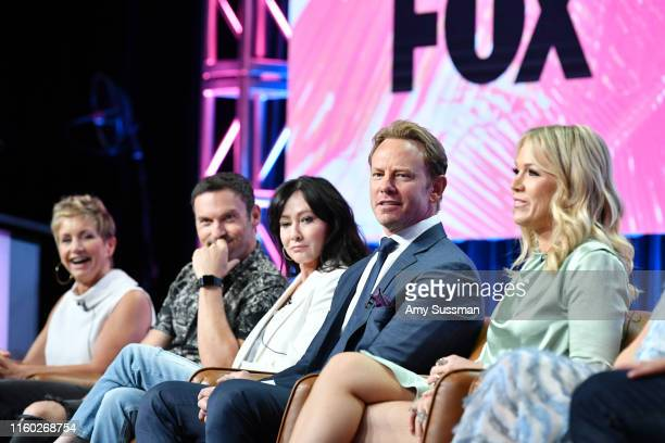 Gabrielle Carteris, Brian Austin Green, Shannen Doherty, Ian Ziering and Jennie Garth of BH 90210 speak during the Fox segment of the 2019 Summer TCA...