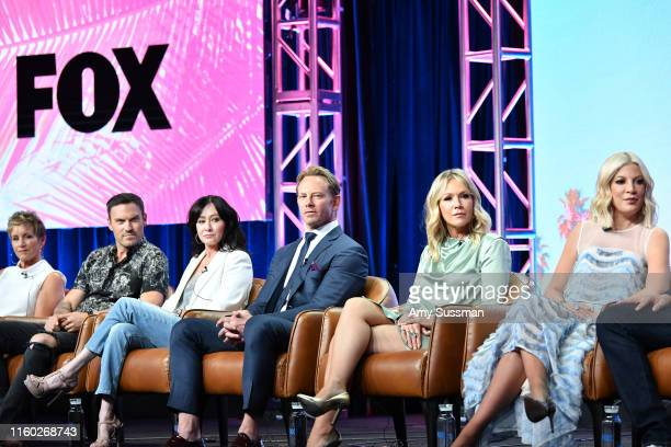 Gabrielle Carteris, Brian Austin Green, Shannen Doherty, Ian Ziering, Jennie Garth andTori Spelling of BH 90210 speak during the Fox segment of the...