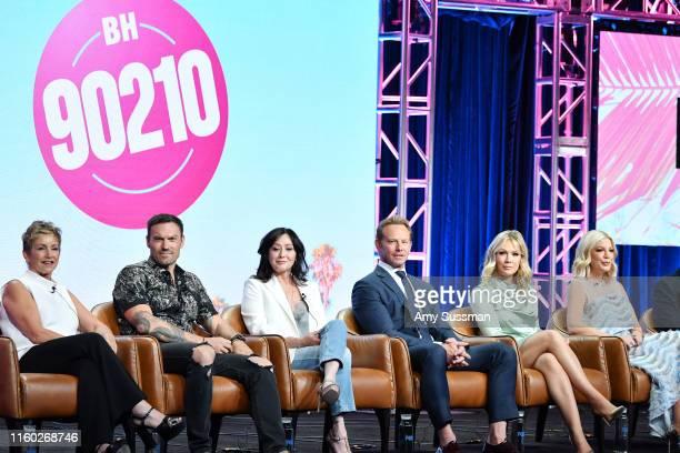 Gabrielle Carteris Brian Austin Green Shannen Doherty Ian Ziering Jennie Garth andTori Spelling of BH 90210 speak during the Fox segment of the 2019...