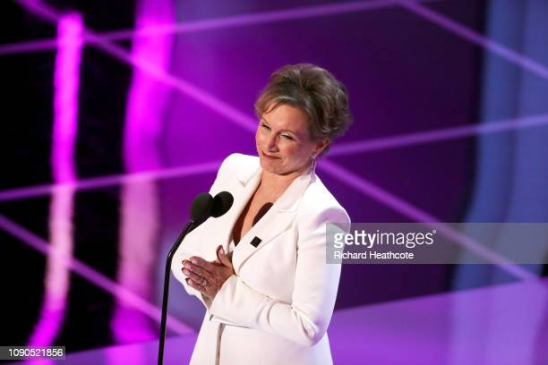 Gabrielle Carteris onstage during the 25th Annual Screen Actors Guild Awards at The Shrine Auditorium on January 27 2019 in Los Angeles California...