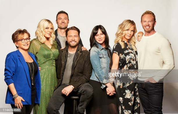Gabrielle Carteris Tori Spelling Brian Austin Green Jason Priestley Shannen Doherty Jennie Garth and Ian Ziering BH90210 the highly anticipated new...