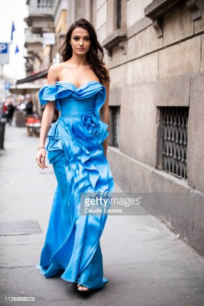 Gabrielle Caunesil attends the Ermanno Scervino show at Milan Fashion Week Autumn/Winter 2019/20 on February 23 2019 in Milan Italy
