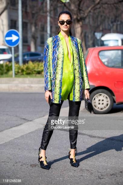 Gabrielle Caunesil is seen outside Emporio Armani on Day 2 Milan Fashion Week Autumn/Winter 2019/20 on February 21 2019 in Milan Italy
