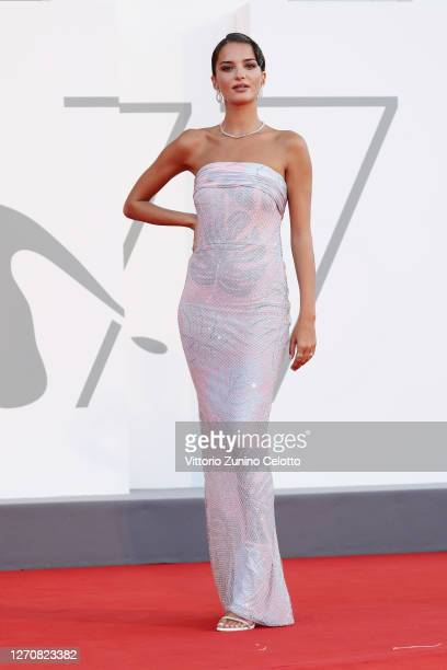 """Gabrielle Caunesil walks the red carpet ahead of the movie """"Miss Marx"""" at the 77th Venice Film Festival on September 05, 2020 in Venice, Italy."""