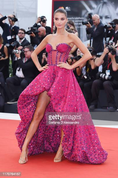 Gabrielle Caunesil walks the red carpet ahead of the Opening Ceremony and the La Vérité screening during the 76th Venice Film Festival at Sala Grande...