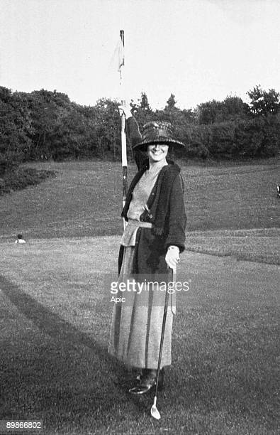 Gabrielle Chasnel called Coco Chanel french fashion designer here playing golf c1910