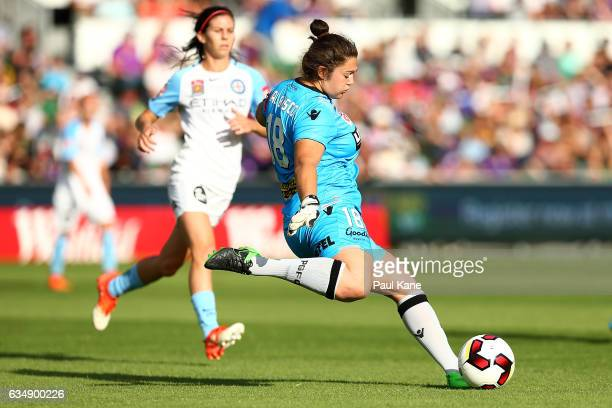 Gabrielle Dal Busco of the Perth Glory kicks the ball out during the 2017 WLeague Grand Final match between the Perth Glory and Melbourne City FC at...