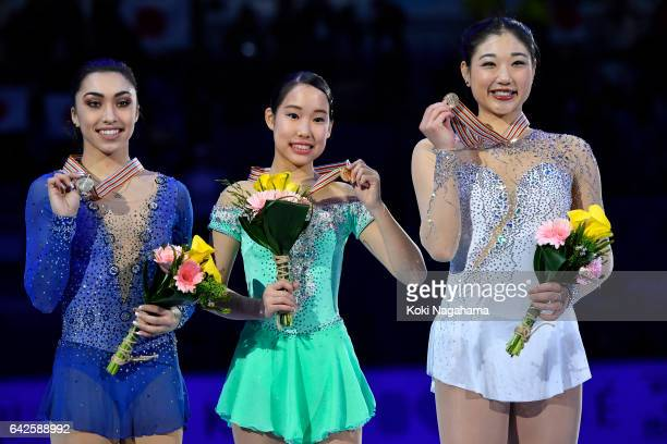 Gabrielle Daleman of Canada and Mai Mihara of Japan and Mirai Nagasu United States pose after the medals ceremony of the Ladies skating in ISU Four...