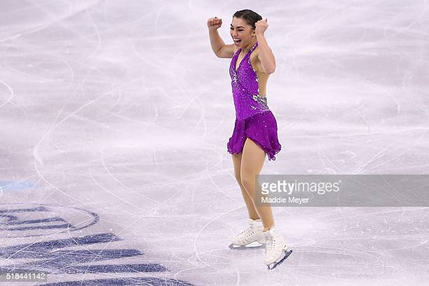 Gabrielle Daleman of Canada celebrates after completing her routine in the Ladies Short Program during Day 4 of the ISU World Figure Skating...