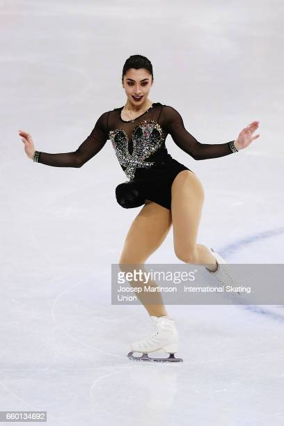 Gabrielle Daleman of Canada competes in the Ladies Short Program during day one of the World Figure Skating Championships at Hartwall Arena on March...