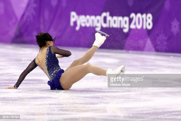 Gabrielle Daleman of Canada falls while competing during the Ladies Single Skating Free Skating on day fourteen of the PyeongChang 2018 Winter...