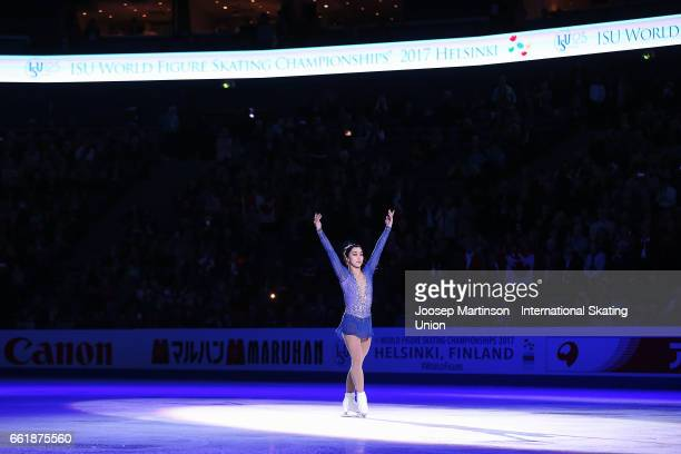 Gabrielle Daleman of Canada poses in the Ladies medal ceremony during day three of the World Figure Skating Championships at Hartwall Arena on March...