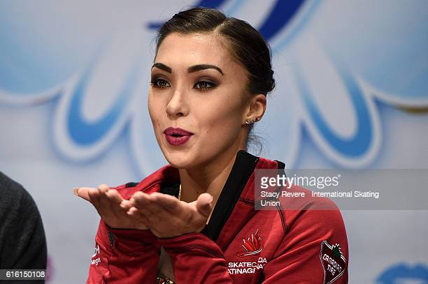 Gabrielle Daleman of Canada waits for her score to be announced on day 1 of the Grand Prix of Figure Skating at the Sears Centre Arena on October 21...