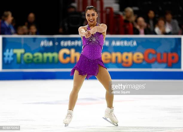 Gabrielle Daleman of Team North America competes in the Ladies Singles Short Program on day 1 of the KOSE Team Challenge at Spokane Arena on April 22...