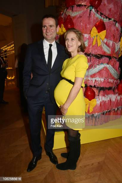 Gabrielle de la Fouchardiere and Alexandre Ricard chairman and CEO of Pernod Ricard attend 'Le Bal Jaune 2018' 20th Anniversary at Hotel Salomon de...