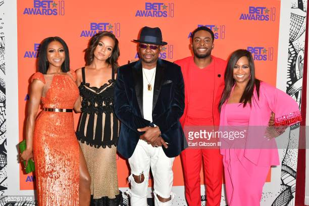 Gabrielle Dennis Alyssa Goss Bobby Brown Woody McClain and Sandi McCree pose in the press room at the 2018 BET Awards at Microsoft Theater on June 24...