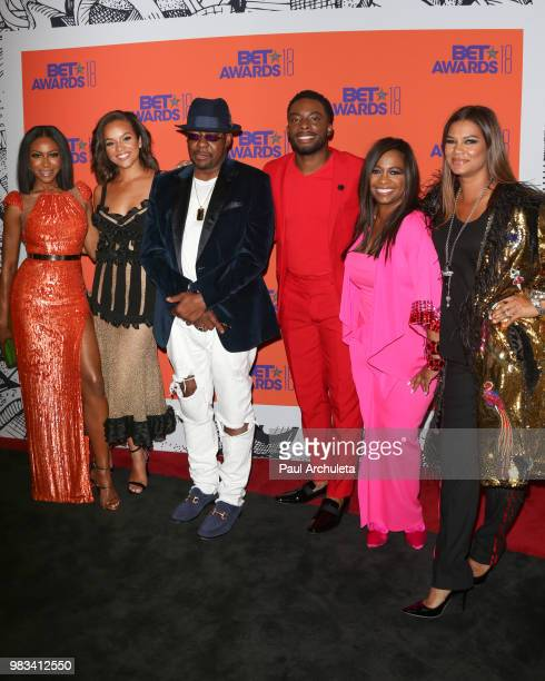 Gabrielle Dennis Alyssa Goss Bobby Brown Woody McClain Sandi McCree and Alicia Etheredge pose for photos in the press poom at the 2018 BET Awards at...