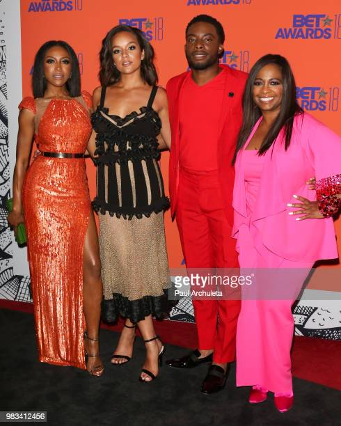 Gabrielle Dennis Alyssa Goss Woody McClain and Sandi McCree pose for photos in the press poom at the 2018 BET Awards at Microsoft Theater on June 24...