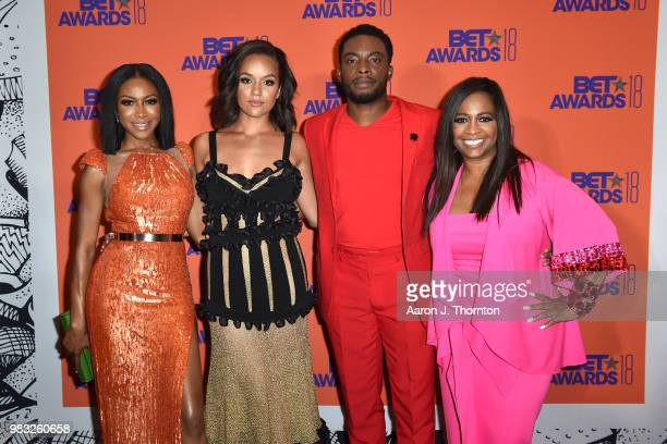 Gabrielle Dennis Alyssa Goss Woody McClain and Sandi McCree pose in the press room at the 2018 BET Awards at Microsoft Theater on June 24 2018 in Los...
