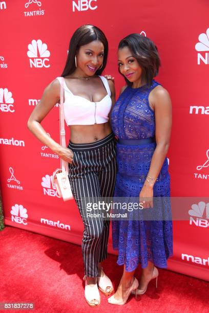Gabrielle Dennis and cast member Bresha Webb attend NBC's MARLON 'Sip Style' at Tantris on August 12 2017 in West Hollywood California
