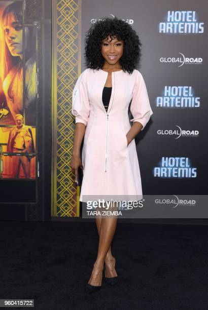 Gabrielle Dennis attends the Los Angeles premiere of 'Hotel Artemis' on May 19, 2018 in Westwood Village, California.
