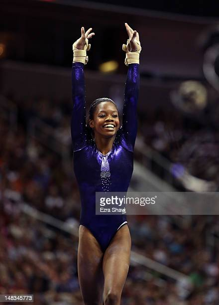 Gabrielle Douglas competes on the floor exercise during day 4 of the 2012 US Olympic Gymnastics Team Trials at HP Pavilion on July 1 2012 in San Jose...
