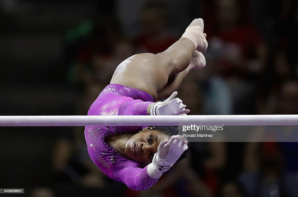 Gabrielle Douglas competes on the uneven bars during day 1 of the 2016 U.S. Olympic Women's Gymnastics Team Trials at SAP Center on July 8, 2016 in San Jose, California.
