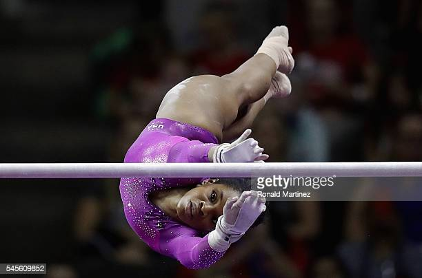 Gabrielle Douglas competes on the uneven bars during day 1 of the 2016 US Olympic Women's Gymnastics Team Trials at SAP Center on July 8 2016 in San...