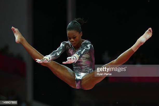 Gabrielle Douglas of the United States competes in the Artistic Gymnastics Women's Uneven Bars final on Day 10 of the London 2012 Olympic Games at...