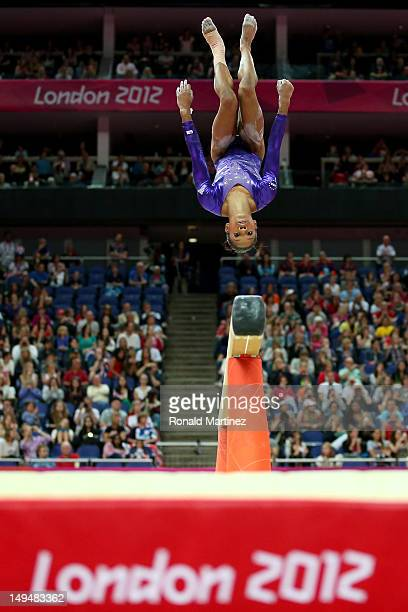 Gabrielle Douglas of the United States competes in the beam in the Artistic Gymnastics Women's Team qualification on Day 2 of the London 2012 Olympic...