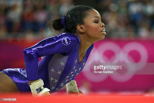 Gabrielle Douglas of the United States competes in the floor exercise in the Artistic Gymnastics Women's Team qualification on Day 2 of the London...