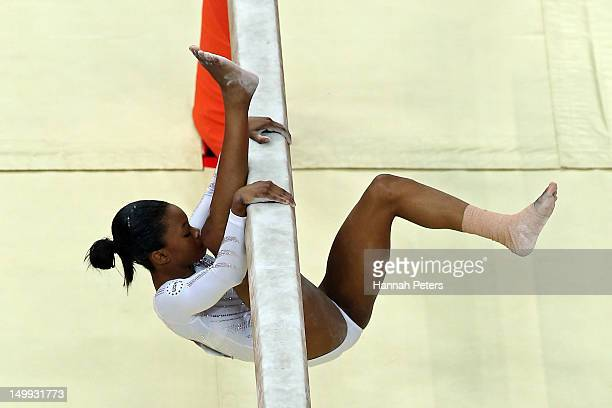 Gabrielle Douglas of the United States falls off the beam during the Artistic Gymnastics Women's Beam final on Day 11 of the London 2012 Olympic...