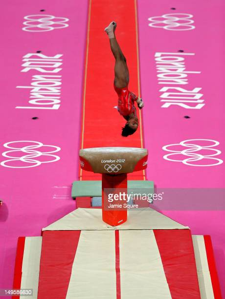 Gabrielle Douglas of the United States of America competes on the vault in the Artistic Gymnastics Women's Team final on Day 4 of the London 2012...