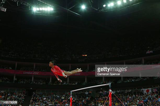 Gabrielle Douglas of the United States of America competes on the uneven bars in the Artistic Gymnastics Women's Team final on Day 4 of the London...