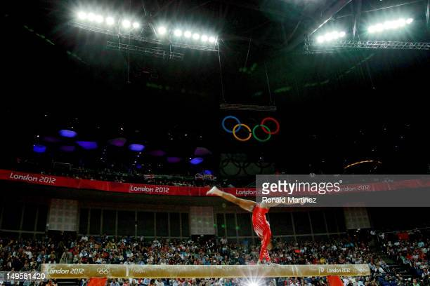 Gabrielle Douglas of the United States of America competes on the balance beam in the Artistic Gymnastics Women's Team final on Day 4 of the London...