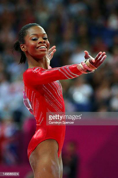 Gabrielle Douglas of the United States performs on the floor exercise in the Artistic Gymnastics Women's Team final on Day 4 of the London 2012...