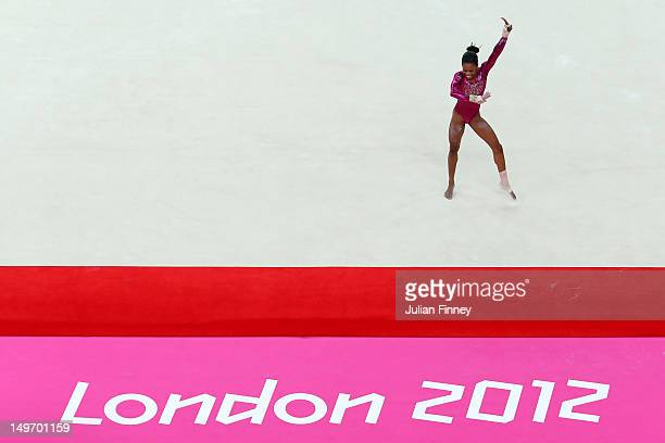 Gabrielle Douglas of the United States performs the floor exercise in the Artistic Gymnastics Women's Individual AllAround final on Day 6 of the...